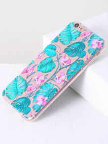 Blue Floral Print Transparent 6 Plus/6s Plus Case