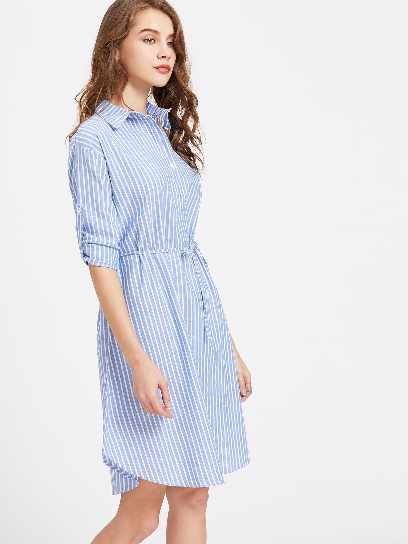 Vertical striped roll up sleeve self tie shirt dress for Vertical striped dress shirt