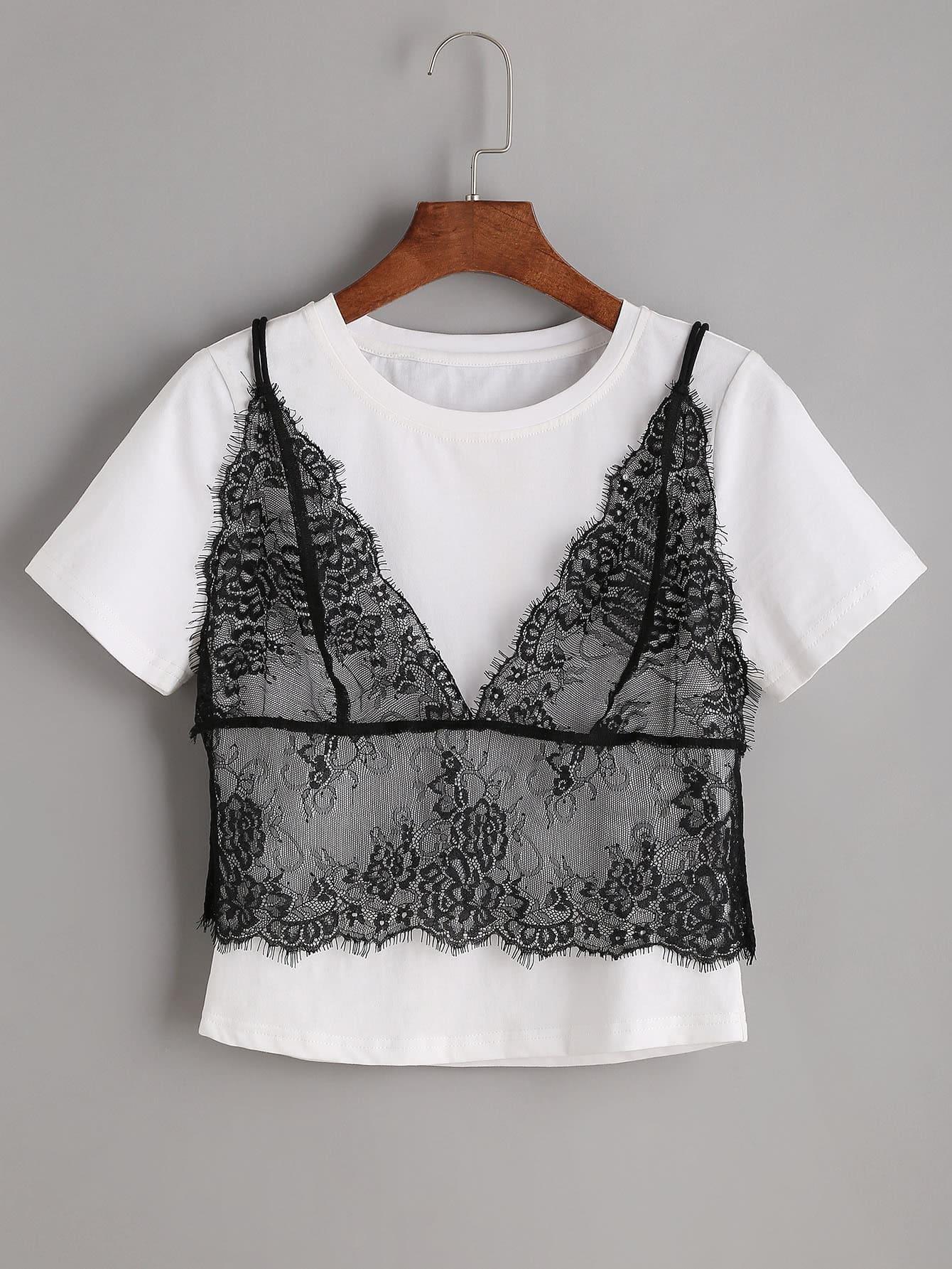 Фото Contrast 2 In 1 Lace Cami T-shirt. Купить с доставкой