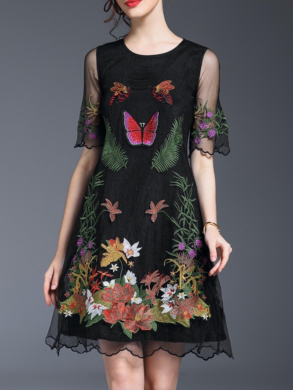 Фото Black Sheer Gauze Embroidered A-Line Dress. Купить с доставкой