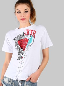 Lace Front Graphic Tee WHITE