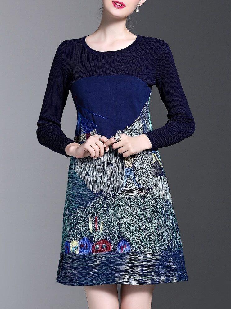 Фото Navy Embroidered A-Line Dress. Купить с доставкой