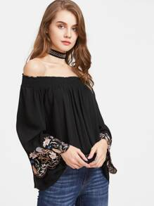 Scalloped Embroidered Sleeve Smocked Bardot Top
