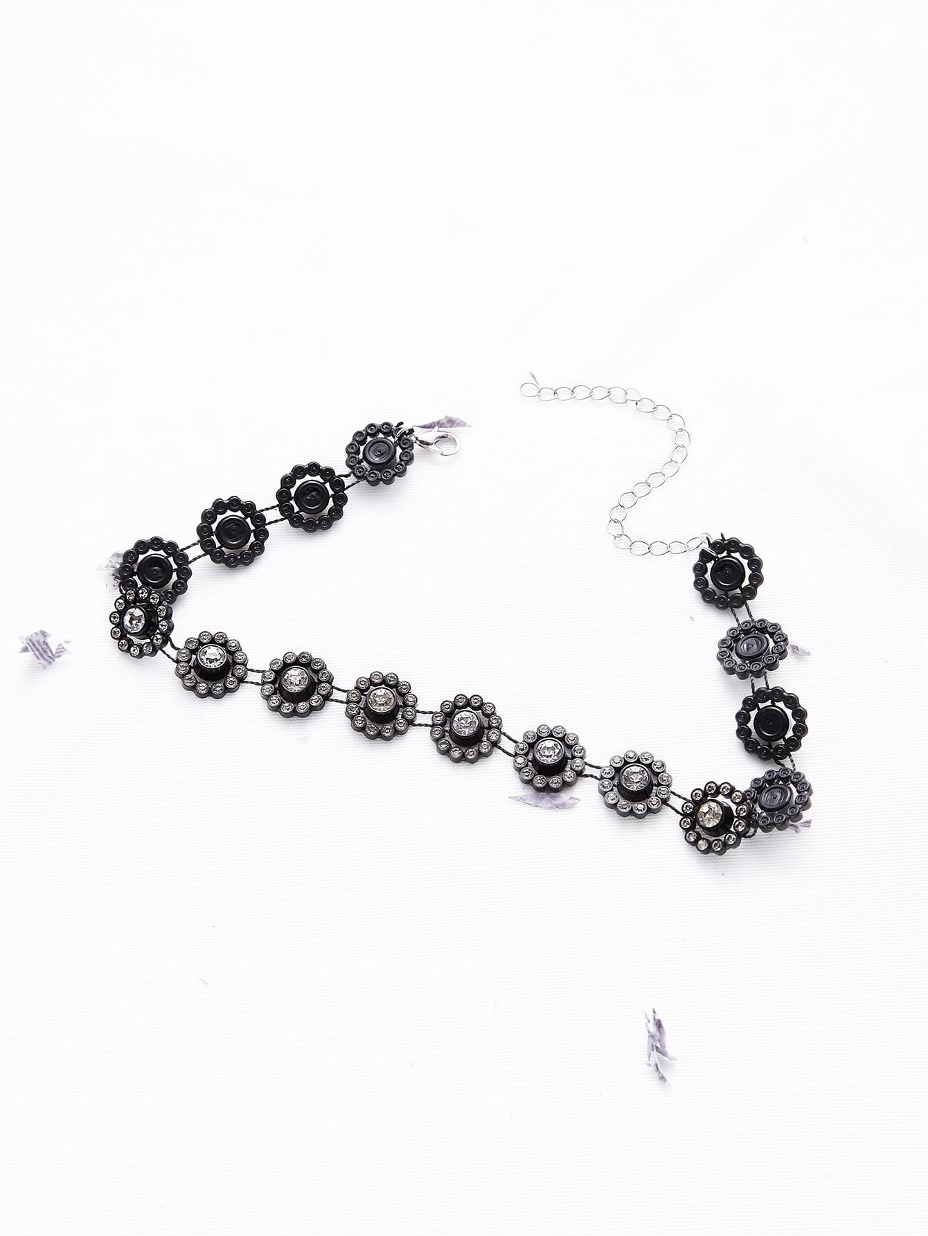 Black Flower Shaped Rhinestone Statement Choker necklaceNC170318305