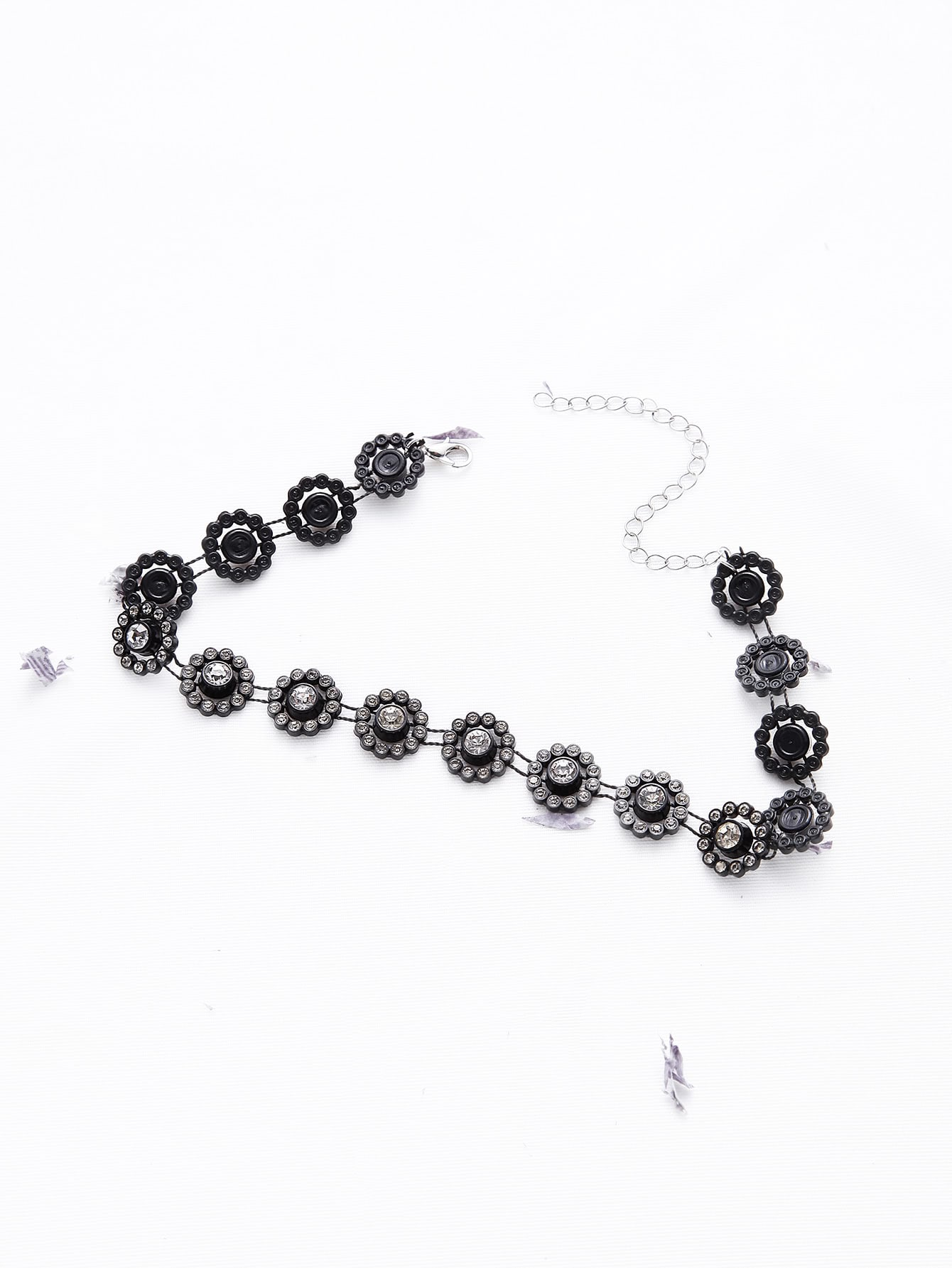 Black Flower Shaped Rhinestone Statement Choker necklaceNC170318305