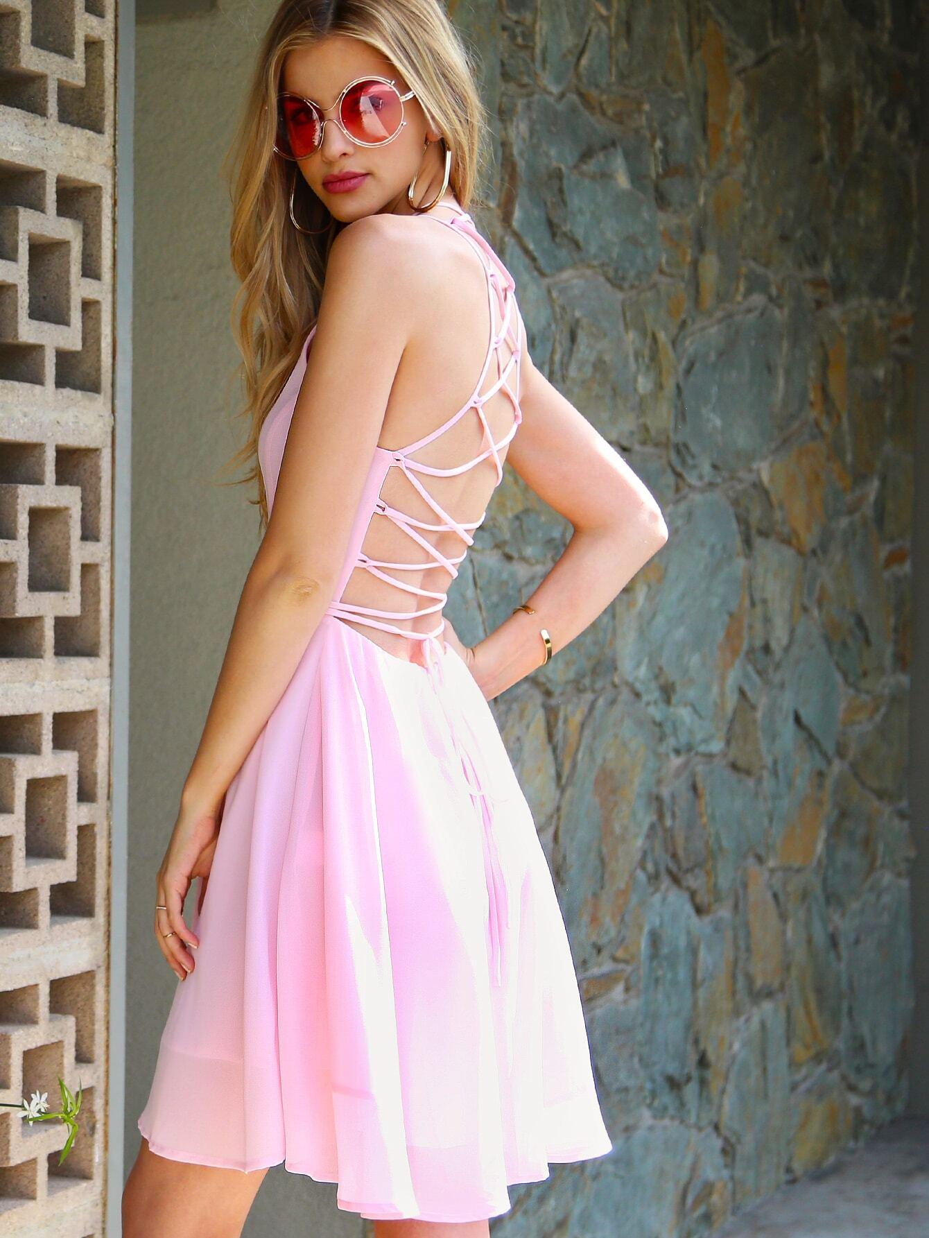 Pink Lace Up Back Skater Dress