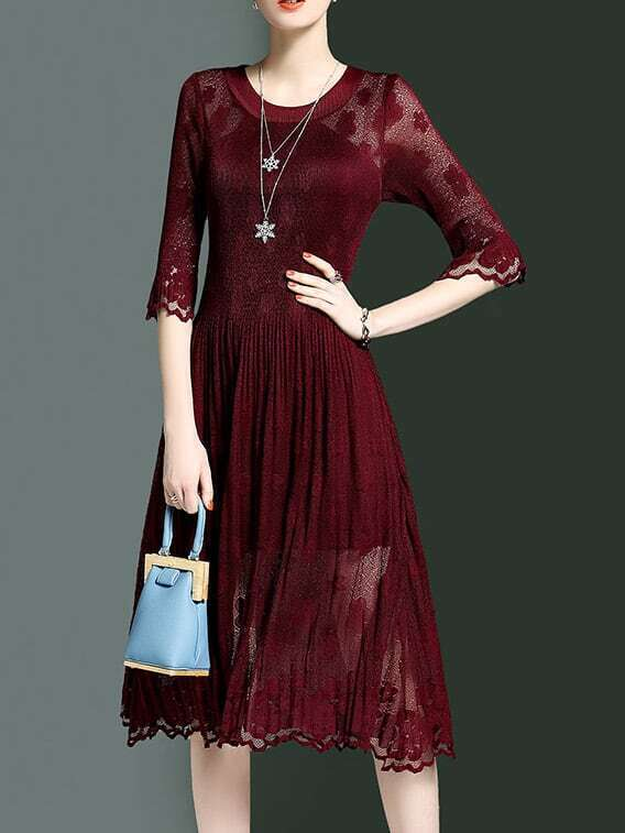 Фото Burgundy Crew Neck Sheer Pleated Dress. Купить с доставкой