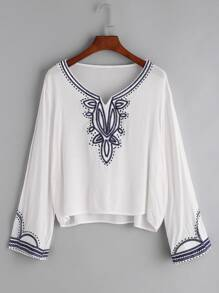 V Cut Embroidered T-shirt