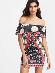 Florals Off The Shoulder Layered Ruffle Bodycon Dress