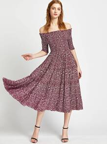 Calico Print Shirred Bardot A Line Dress