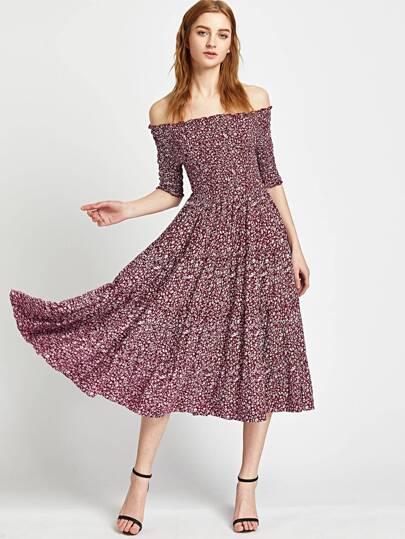 Calico Print Shirred Bardot A Line Dress