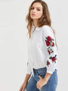 White Flower Embroidered Curved Hem Shirt