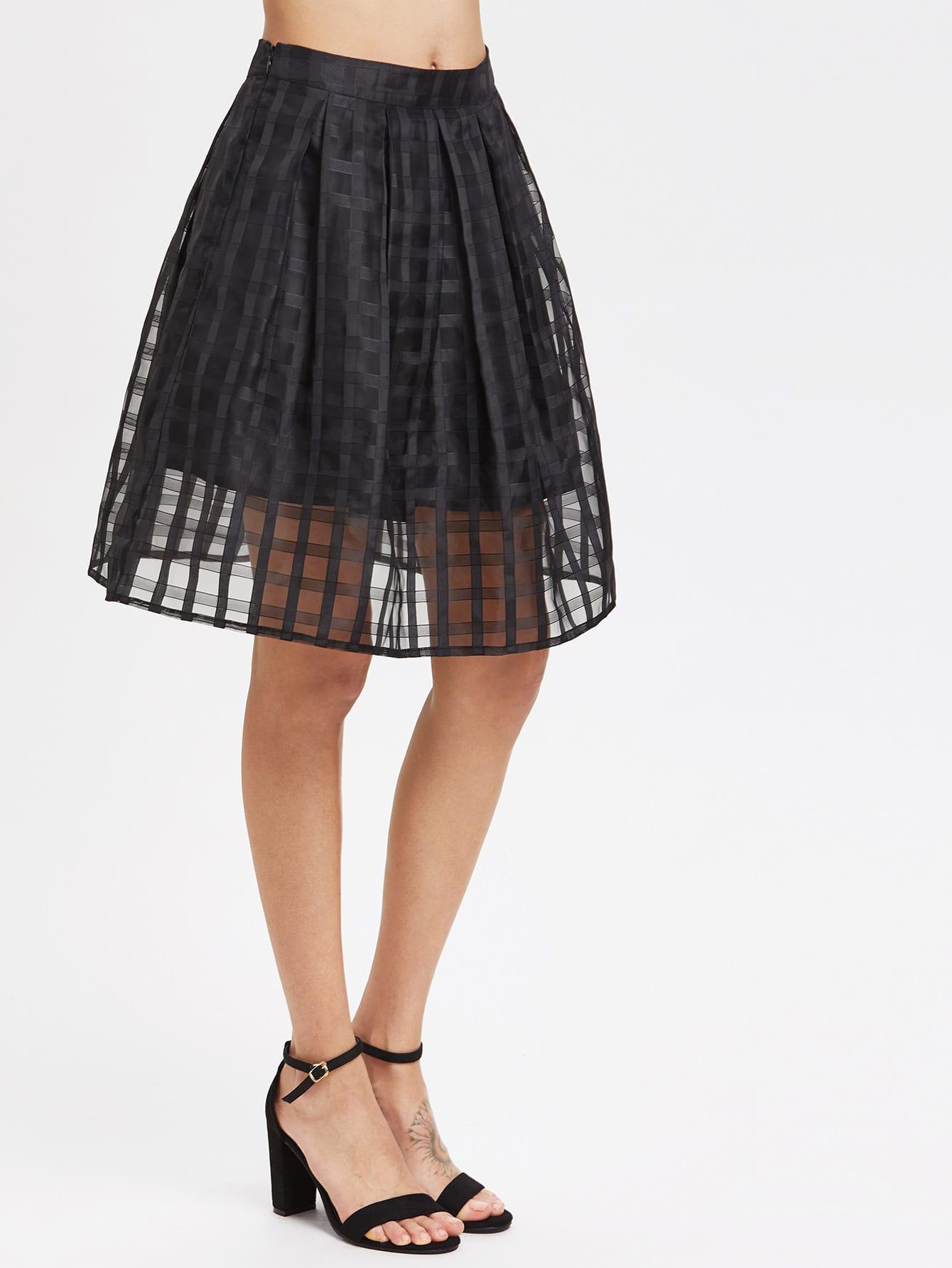 Box Pleated Grid Mesh Skirt box pleated grid skirt