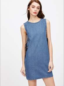 Lace Up Grommet Zip Back Denim Dress