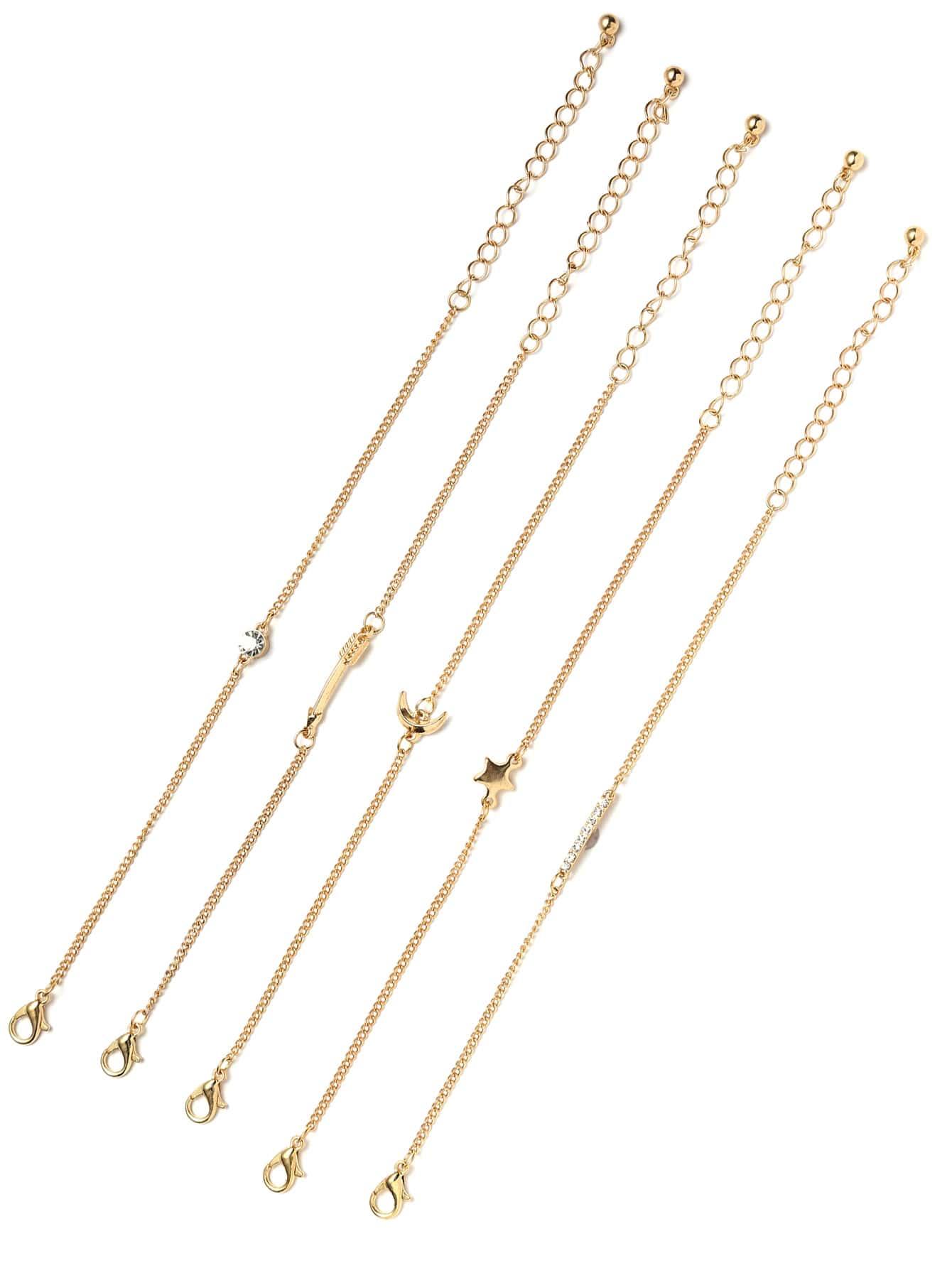 Фото Gold Star And Moon Charm Link Bracelet. Купить с доставкой