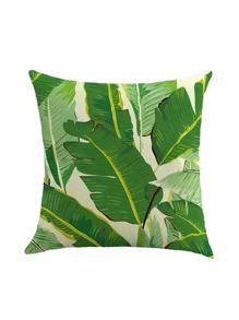 Beige Leaf Print Pillowcase Cover