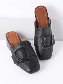 Buckle Square Toe Chunky Heeled Mules
