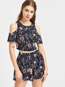 Floral Print Self Tie Open Back Top With Shorts