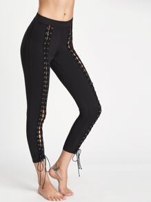 Black Eyelet Encaje Hasta Leggings