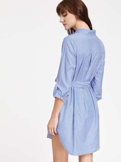Платье-рубашка в полоску с вышивкой