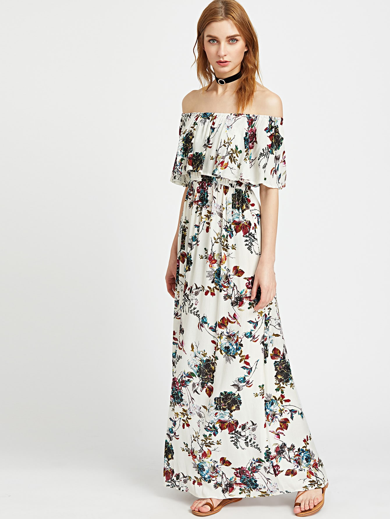 Фото Botanical Print Flounce Bardot Maxi Dress. Купить с доставкой