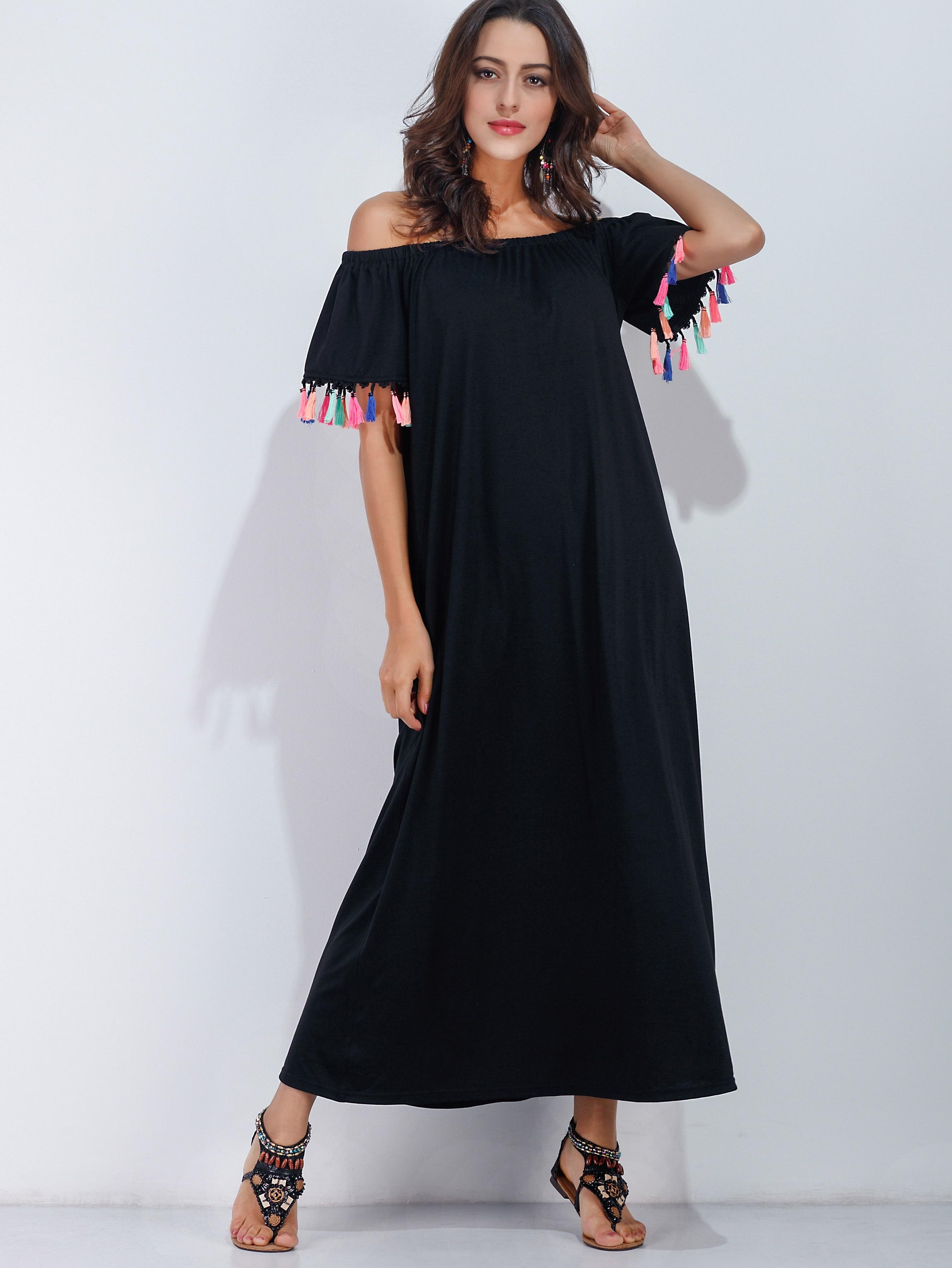 Off Shoulder Tassel Trim Beach Dress dress170322101