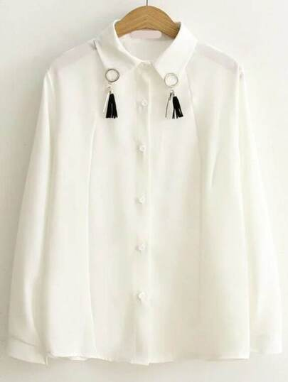 White Ring Detail Blouse With Tassel