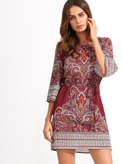 Red Tribal Print Self Tie Dress