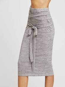 Space Dye Belted Rib Knit Pencil Skirt