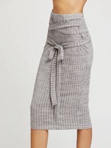 Falda de punto de canalé con cinturón - gris