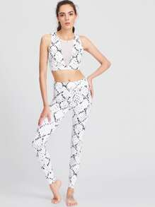 White Ink Painting Print Crop Tank Top With Leggings