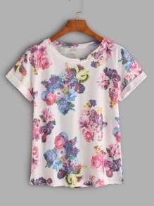 Tee-shirt imprimé fleuri avec des replis