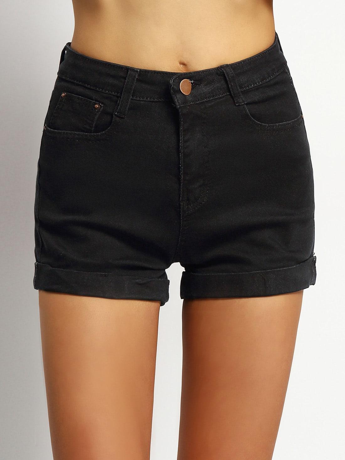 Pockets Rolled Hem Denim Shorts -SheIn(Sheinside)