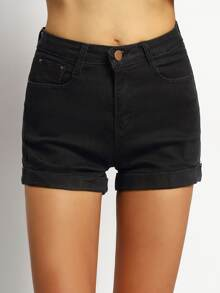 short denim bolsillos-negro