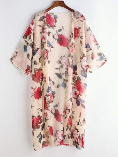 Calico Print Chiffon Kimono
