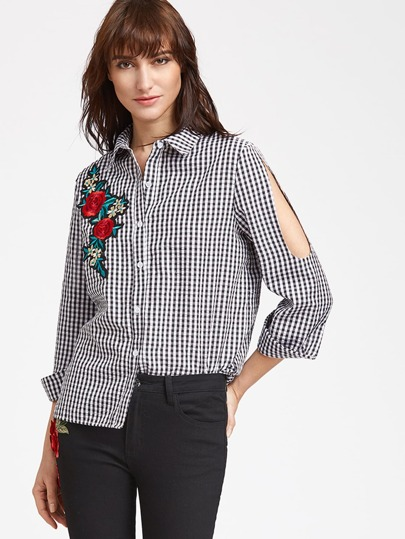 Cutout Sleeve Checkered Rose Embroidered Blouse