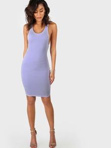 Ribbed Sleeveless Bodycon Dress LAVENDER
