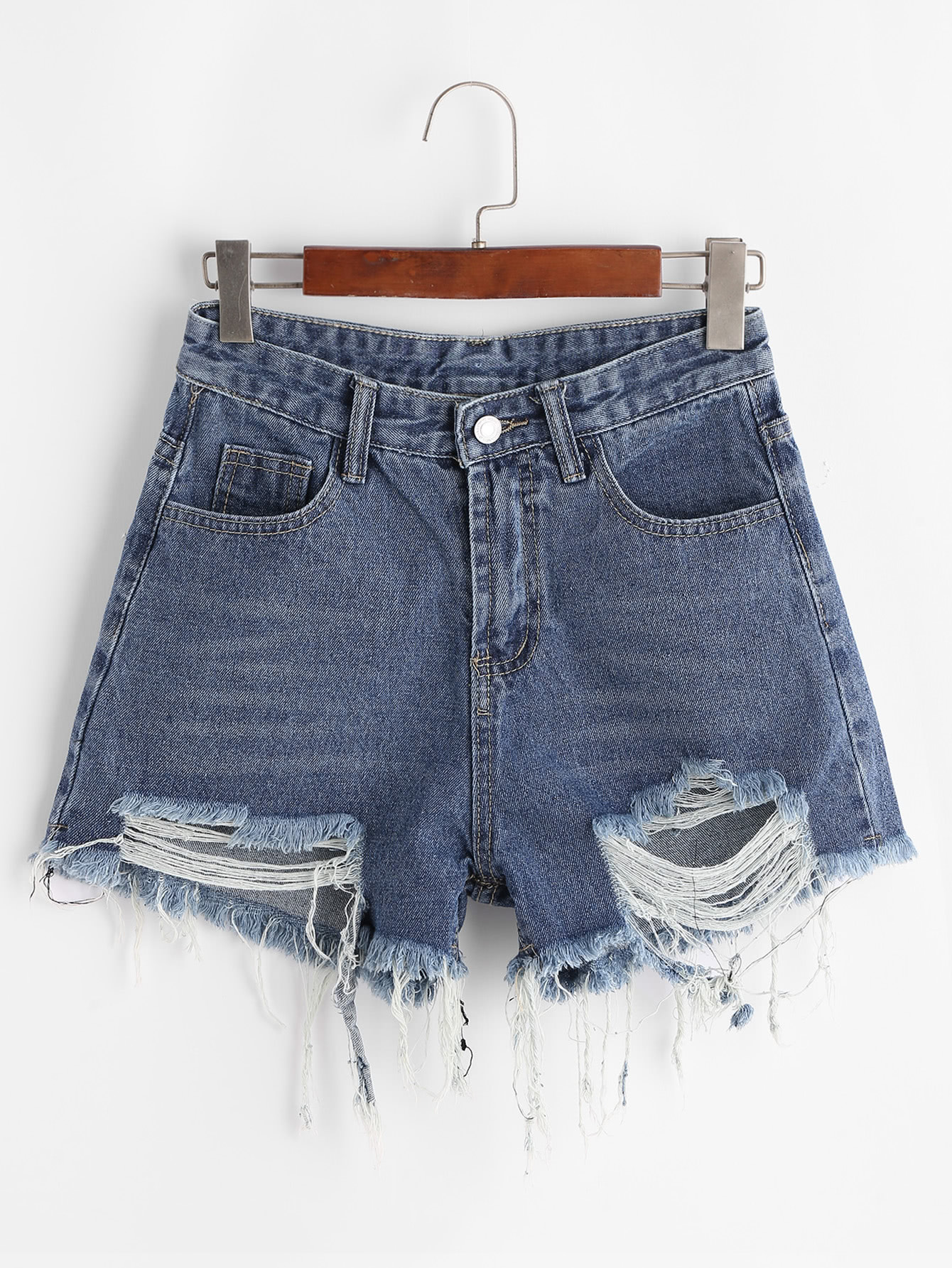 Frayed Raw Hem Denim Shorts -SheIn(Sheinside)