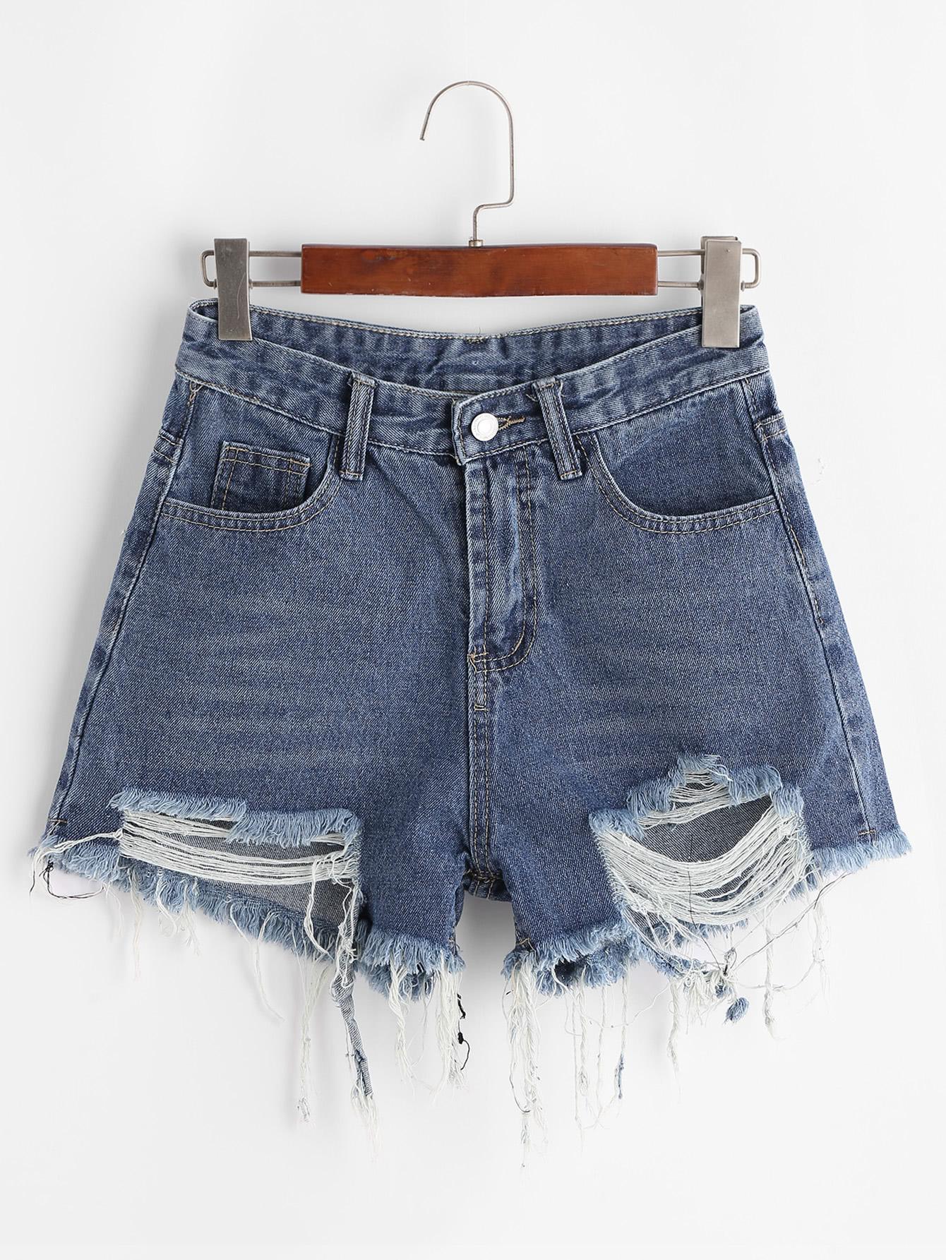 Frayed Raw Hem Denim Shorts