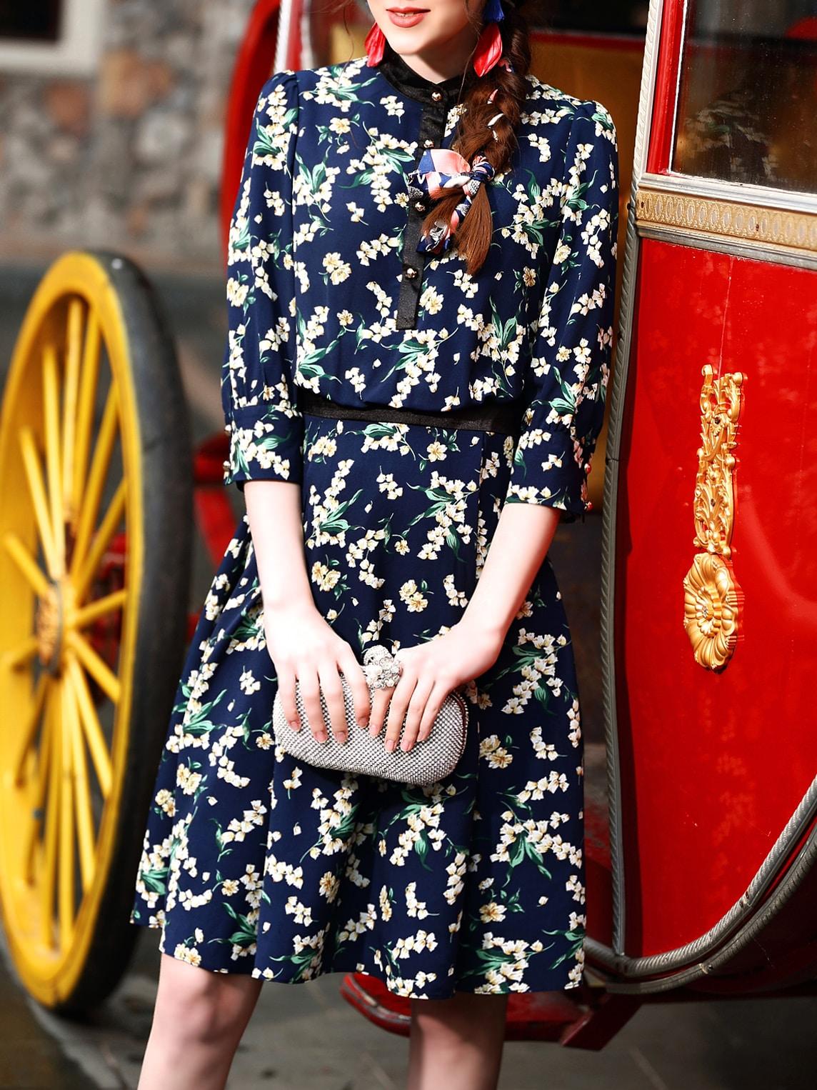 Фото Navy Flowers Print A-Line Dress. Купить с доставкой