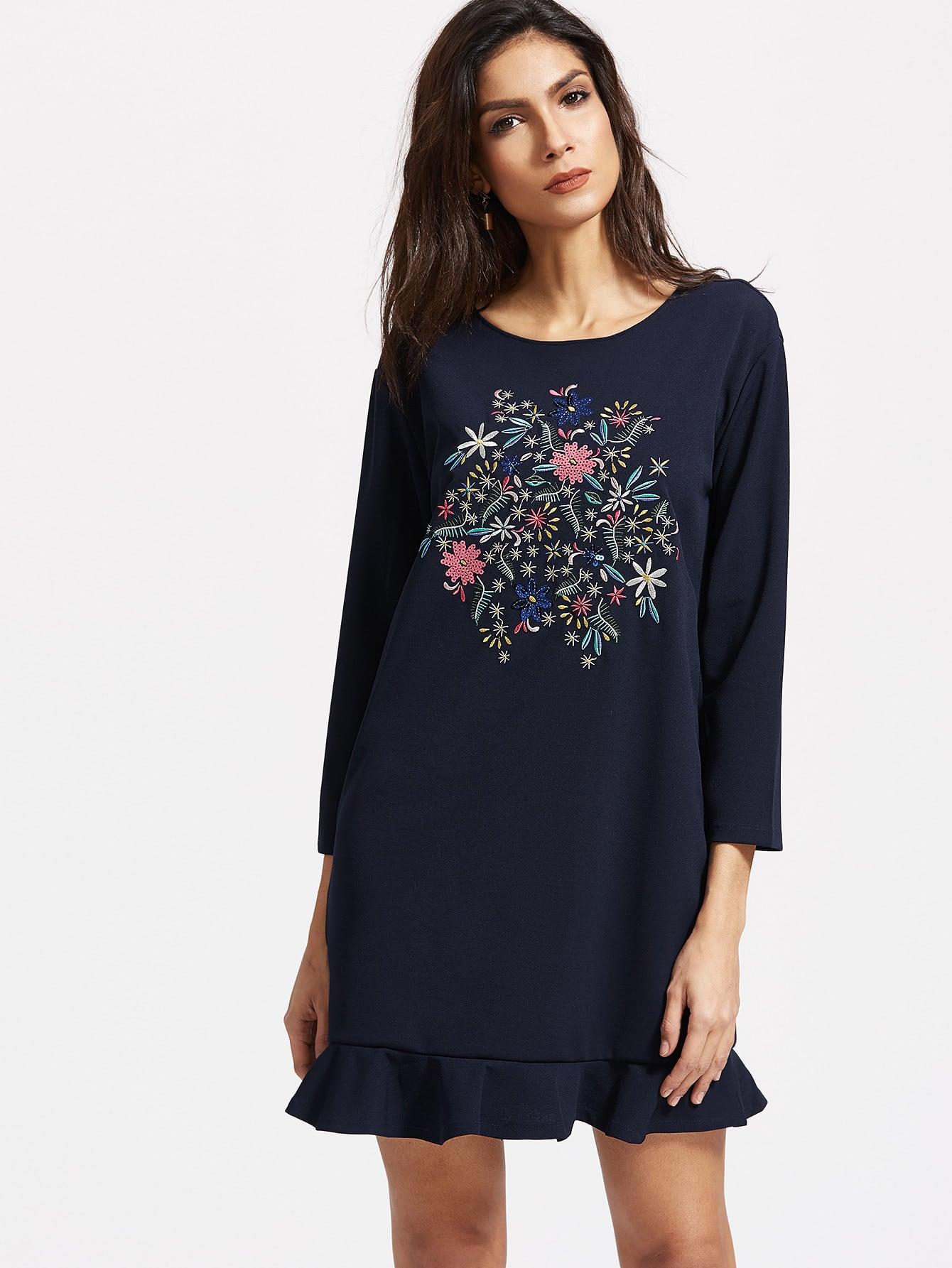 Navy Flower Embroidery Ruffle Hem Dress dress170303201