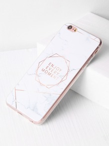 Marble Pattern With Letter Print iPhone 6 Plus/6s Plus Case