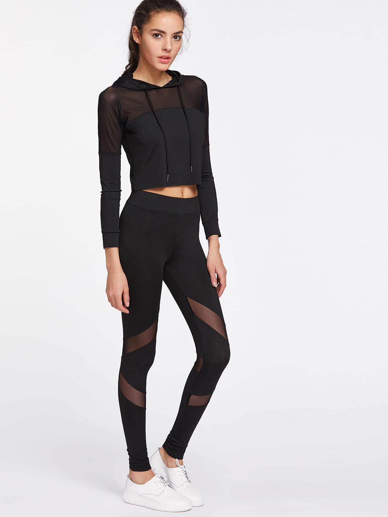Image of Active Mesh Paneled Hooded Top With Leggings