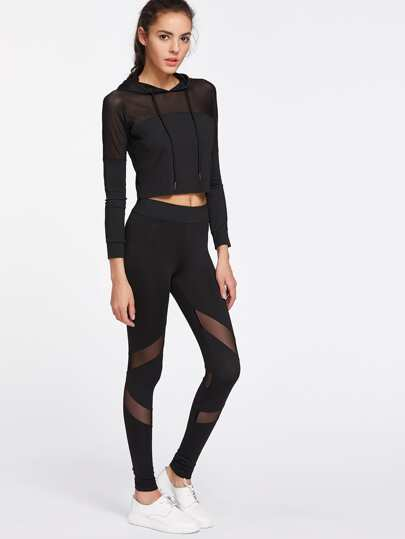 Active Mesh Paneled Hooded Top With Leggings