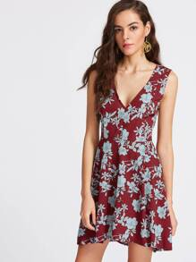 Burgundy Floral Print V Neck Skater Dress
