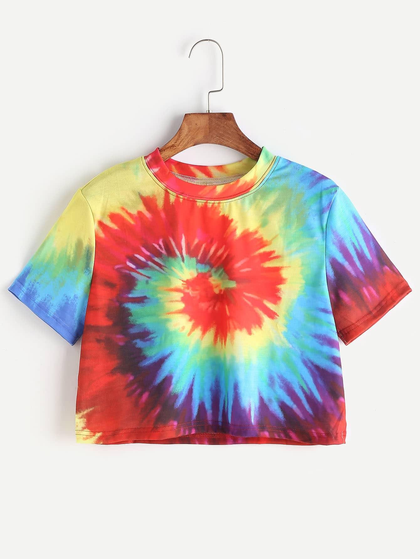 Spiral Tie Dye Print Crop T-shirt