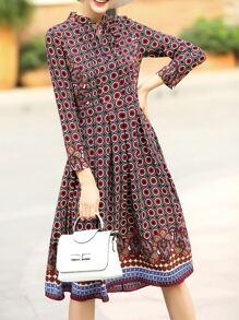 Red Bowtie Print A-Line Dress