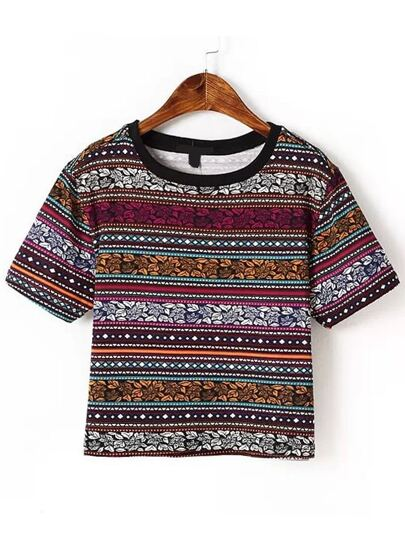 Multicolor Tribal Print T-shirt