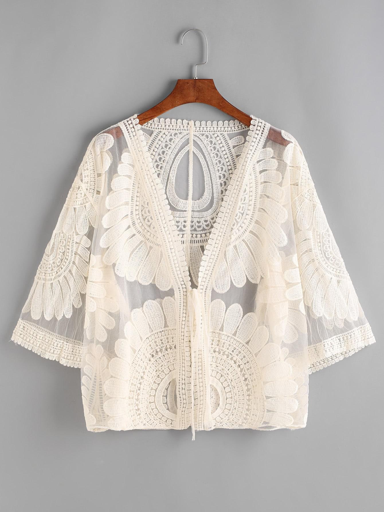 Embroidered Sheer Mesh Kimono