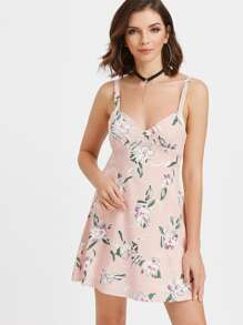 Calico Print Tie Back Cami Dress